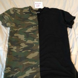 Half black half camo tshirt with zippers